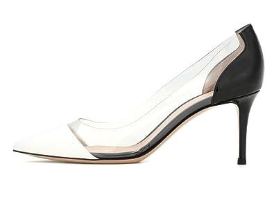 1db202163bb41 EDEFS Femme Chaussure A Talons Hauts Pointu Talons Aiguilles Transparent  Escarpins Black Taille 35