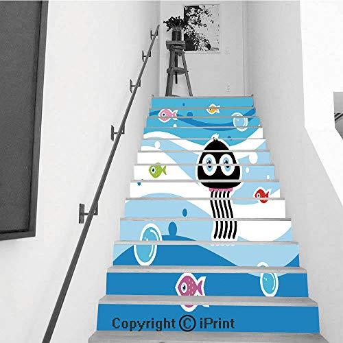 Stair Stickers Wall Stickers,13 PCS Self-Adhesive,Make Your Home Unique,Cute Jellyfish Aquarium Greeting Vector