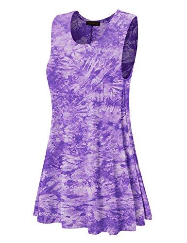 WDR1077 Womens Tie Dye Round Neck Sleeveless Trapeze Dress Tunic Top M Purple ()