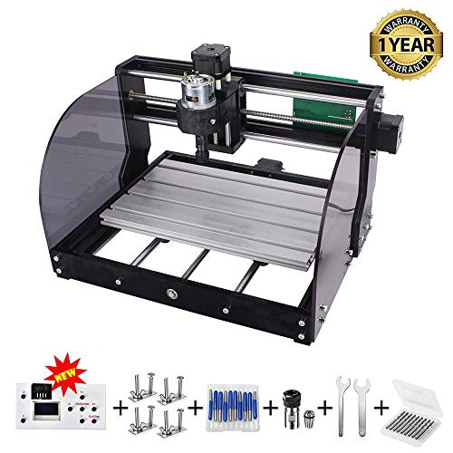 CNC 3018 Pro-M GRBL Control DIY CNC Machine, 3 Axis PCB Milling Machine, Wood Router Engraver with Offline Controller, with ER11 5mm Extension Rod and 20PCS 3.175MM CNC Router Bits (3018 PRO M)