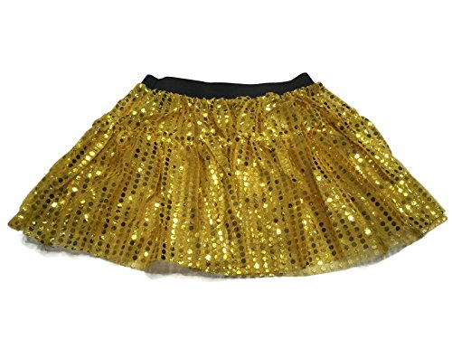 [Rush Dance Sparkle Sequin Running Skirt Race Costume Glitter Ballet Tutu 5K (L/XL, Yellow)] (Cupid Costume Ballet)