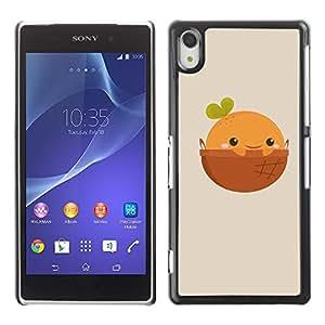 Be Good Phone Accessory // Dura Cáscara cubierta Protectora Caso Carcasa Funda de Protección para Sony Xperia Z2 D6502 D6503 D6543 L50t L50u // Cute Happy Orange