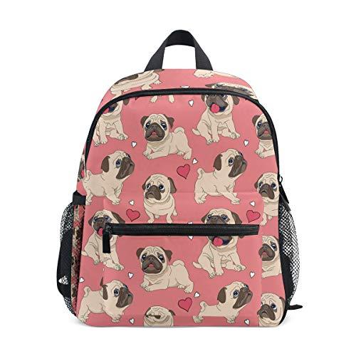 Use4 Valentine's Day Heart Pug Dog Backpack School Shoulder Bag