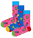 Happy Socks Keith Haring Art Men's Socks, Set of 3 (10-13, Blue/Pink/Pink)