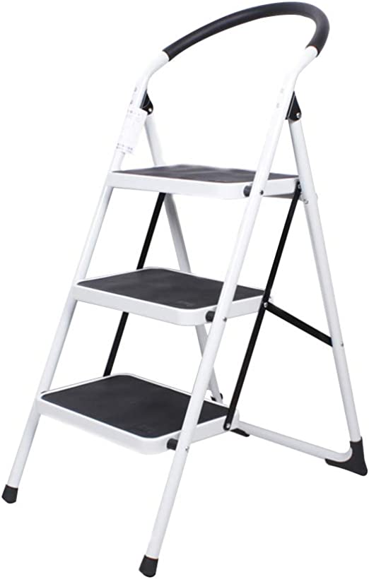 Bseack_store Escalera Taburete, 3 Pasos Esponja Barandilla Silla de Uso Dual La Altura de Uso es 2.8M Portátil Plegable Almacenamiento Hogar Ascendente Escalera 4 Colores (Color : Blanco): Amazon.es: Hogar