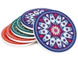 MECOWON Absorbent Stone Coasters for Drinks - 6Packs Tabletop Drink Spill Coaster Set, Unique Mandala Style