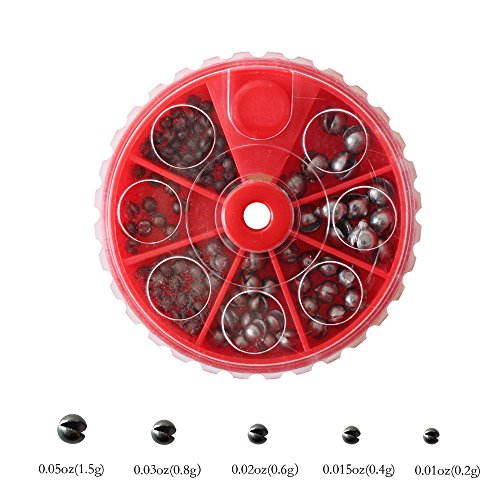 LikeFish Round Split Shot Sinker Removable Fishing Weight Sinkers 100pcs 5 Sizes Weights Total 2.73oz