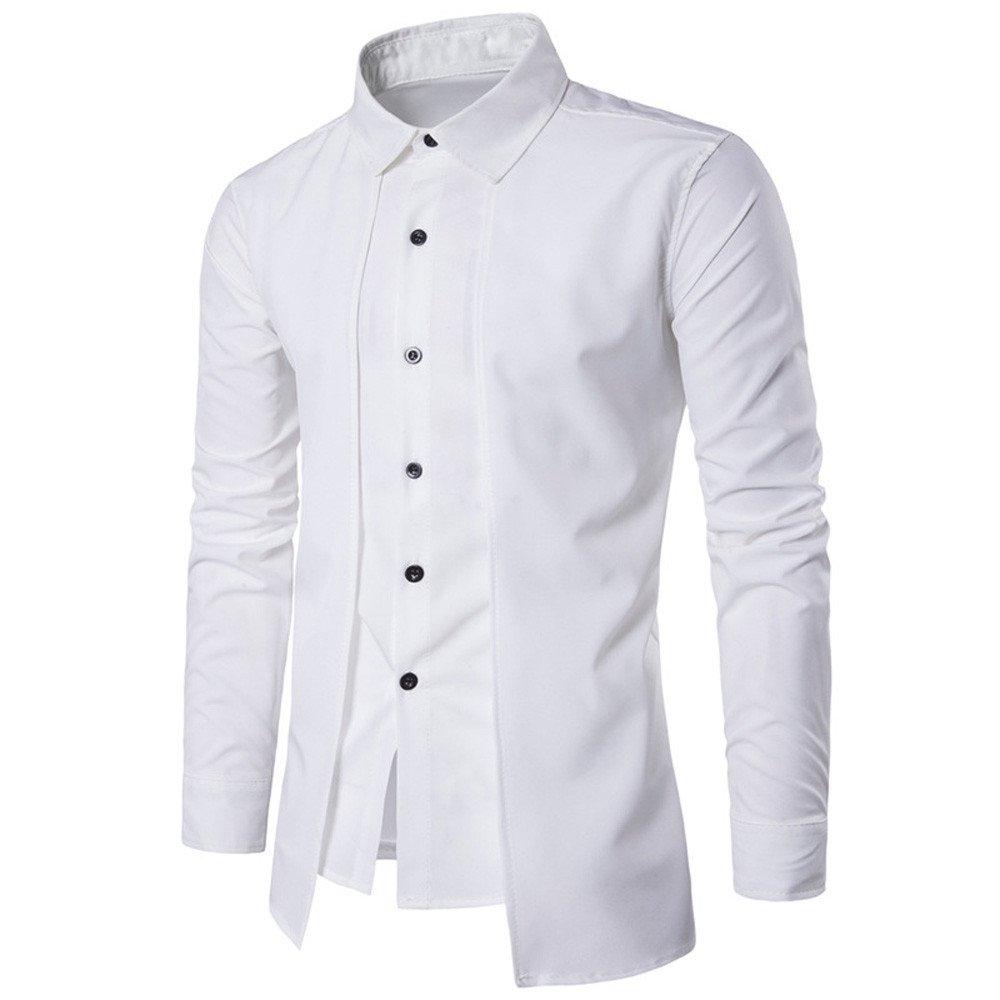 Kinlene Double pi/èce Fausse Chemise en Deux pi/èces de la personnalit/é de lhomme T-Shirt /à Manches Longues T-Shirt d/écontract/é /à Manches Longues pour Hommes daffaires d/écontract/és de Luxe