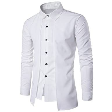 CIELLTE Homme 2019 Mode Chemise Business Manches Longues Casual Shirts  Patchwork Tops Oxford Classique Business Shirt