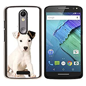 Mutt bebé del perro de perrito Mestizo- Metal de aluminio y de plástico duro Caja del teléfono - Negro - Motorola Droid Turbo 2 / Moto X Force