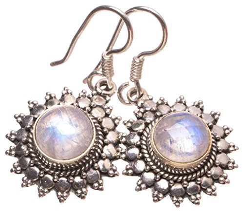 StarGems(tm) Natural Rainbow Moonstone Handmade Indian 925 Sterling Silver Earrings 1 1/4