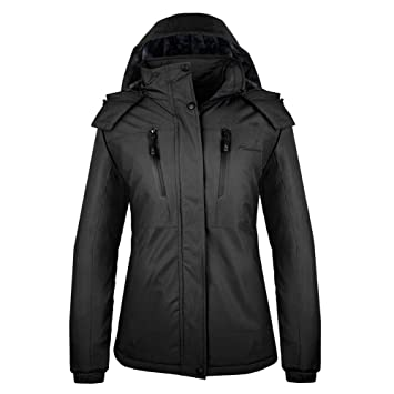 OutdoorMaster Womens Ski Jacket Basic - Winter Jacket with Elastic Powder Skirt & Removable Hood, Waterproof & Windproof
