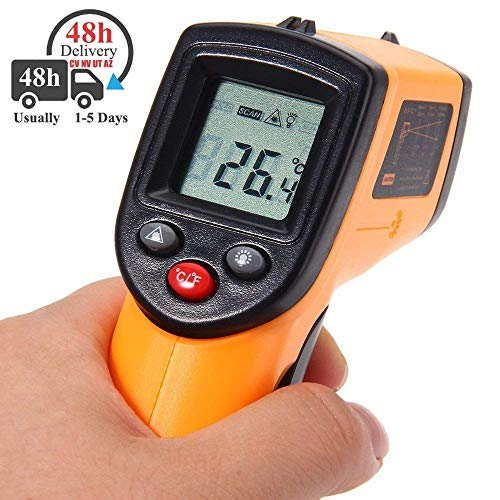 Ulife-JOY GM320 Digital IR Infrared Thermometer Non-contact LCD Laser Temperature Gun - -50 ~ 380℃(-58 ~ 716℉), Instant-read Handheld for Hot Water Pipes / Hot Engine Parts / Cooking Surfaces