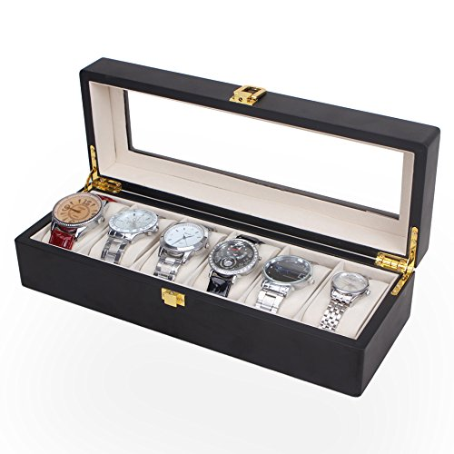 6 Slots Watch Box Case for Men Boxes Display Glass Top Jewelry Collection Storage Boxes Organizer - Luxury Plush Box Top