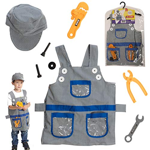 Dress 2 Play Handyman Pretend Costume, 8 Piece Dress up Set with Accessories ()