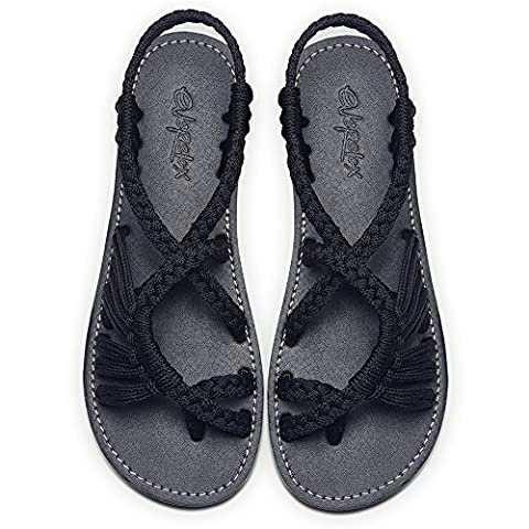 Everelax Summer Braided Strip Flat Sandals Casual Vacation Beach Shoes for Women Teenagers Girls Black 8B(M)US
