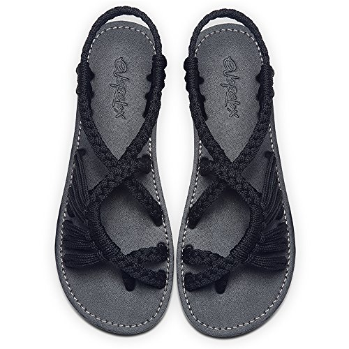 Everelax Women's Flat Sandals Black 9B(M) US