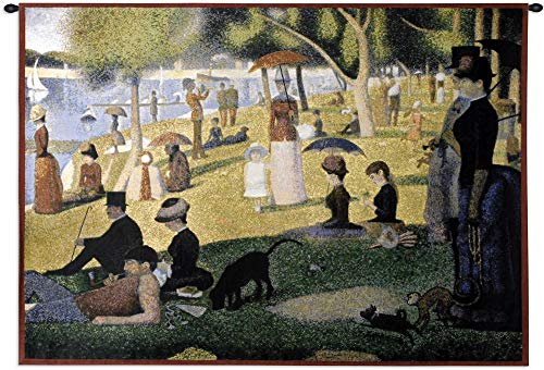 Pure Country Weavers Grande - A Sunday Afternoon on The Island of La Grande Jatte by Georges Seurat | Woven Tapestry Wall Art Hanging | Pointillist Parisian Riverside Masterpiece | 100% Cotton USA Size 53x34