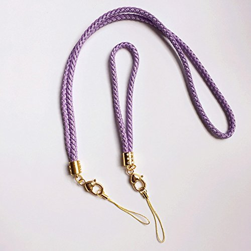 2 Pcs Braided Cord Lanyard Keychain with Rhinestone and Golden Heart Pendant,Premium Quality Necklace and Hand Wrist Keychain Strap (1 long and 1 short) For Key&Camera&Cell Phone&ID Tag Badge(Purple)