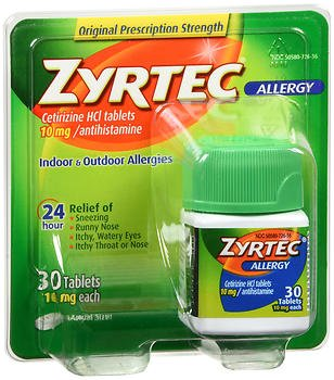 Zyrtec Allergy, 24 Hour 10 mg, Tablets 30 ea., Pack of 5