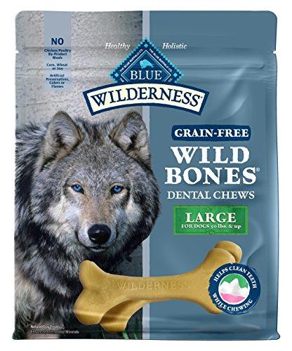 (Blue Buffalo Wilderness Wild Bones Large Dental Chews Grain-Free Dog Treats, 27-Oz Bag)