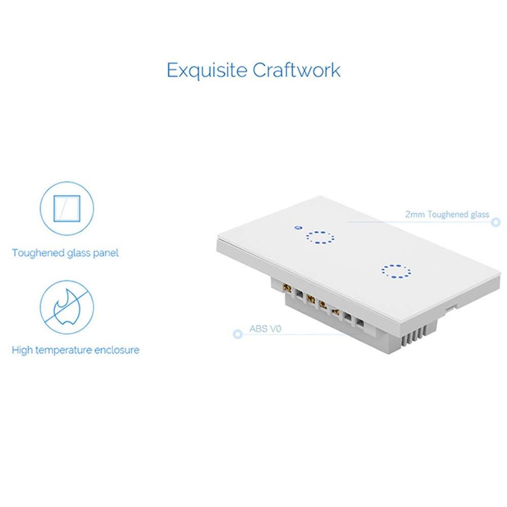 AC 90V-2 Smart Wifi Switch LLP Sonoff T1 Touch 120mm 2 Gang 2 v/ías Panel de vidrio templado Interruptor de pared Interruptor t/áctil de luz inteligente for el hogar compatible con Alexa y Google Home