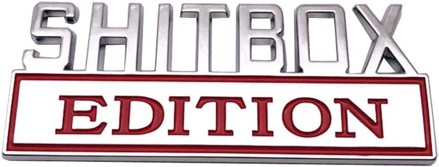 SHITBOX EDITION Emblem Sticker Car Badge for RAM GMC Chevy Car Truck Decal Chrome//Black and Chrome//Red Chrome//Red