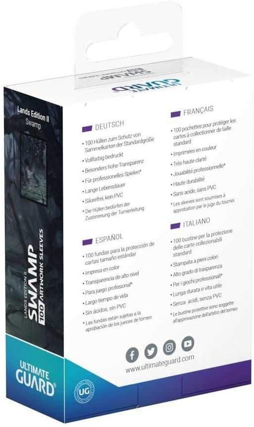 100 Ultimate Guard Printed Sleeves Standard Size Lands Edition II Swamp Carte