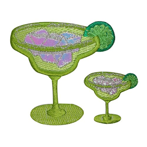 ID 1962AB Set of 2 Margarita Patches Lime Drinks Embroidered Iron On (Lime Tequila Drinks)