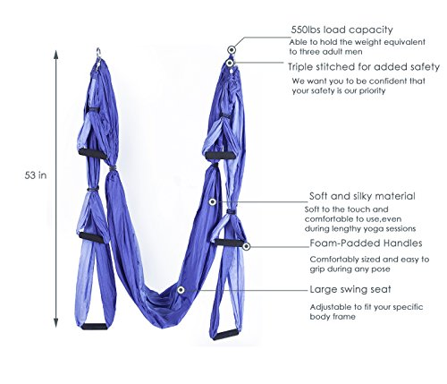 Elevens Aerial Yoga Swing Kit Ultra Strong Antigravity Yoga Hammock/ Inversion Sling with Installation Hardware and Daisy Chain Adjustable Straps 550 Capacity