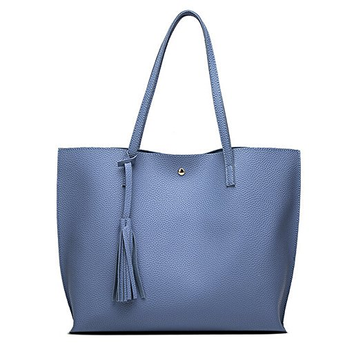 Women Girls Tassels Leather Bag Shopping Handbag Shoulder Tote Bag Large Laptop Purses (45cm(L) 30cm(H) 11cm(W), Sky Blue)