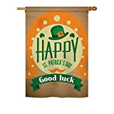 Good Luck St. Patrick's Day – Spring St Patrick Decoration – 28″ x 40″ Impressions House Flag by Ornament Collection – US made For Sale