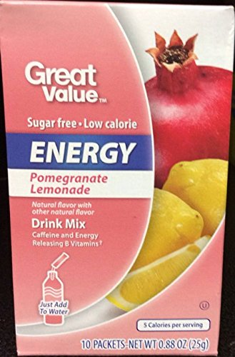 (Great Value Sugar Free, Low Calorie ENERGY Pomegranate Lemonade Drink Mix (Pack of 6))