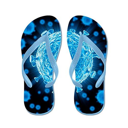 Cafepress Hiv Virusdeeltjes, Kunstwerk - Flip Flops, Grappige Leren Sandalen, Strand Sandalen Caribbean Blue