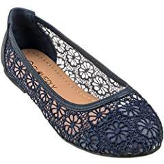 An elegant dressy ballet flats with floral lace design that you can wear to events with beautiful dress or casually with jeans or skirts.