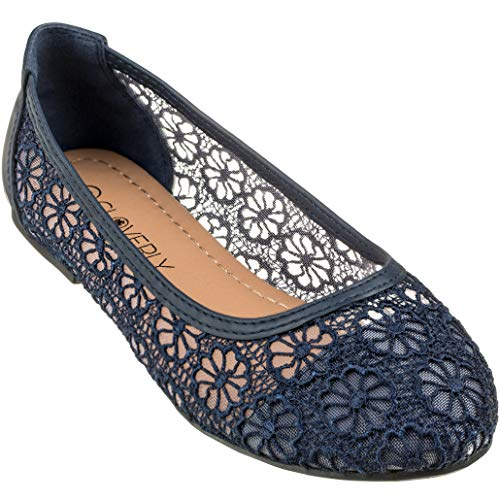 CLOVERLY Women's Ballet Shoe Floral Breathable Crochet Lace Ballet Flats (8 M US, Navy)