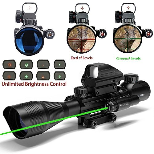 Aibay Rifle Scope 4-12x50EG Red and Green Dot Sight with Integrated Green Laser with Flip Up Lens Caps