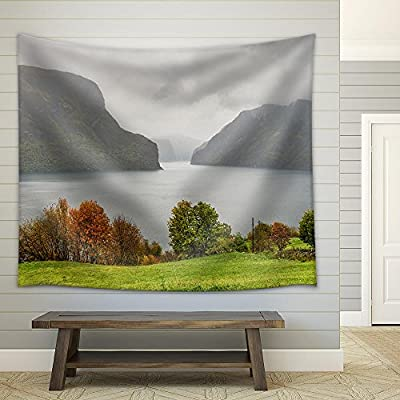 Quality Artwork, Dazzling Portrait, Stock Photo Aurlandsfjord in The Mist Near Aurland Norway Fabric Wall