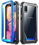 Galaxy A10E Rugged Clear Case, Poetic Full-Body Hybrid Shockproof Bumper Cover, Built-in-Screen Protector, Guardian Series, Case for Samsung Galaxy A10E (2019 Release), Blue/Clear