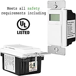 Enerlites HET01-C Programmable Timer Switch for Lights, Fans, Motors, Timer in wall, 7-Day 18 ON/OFF Digital Programs, NEUTRAL WIRE REQUIRED - White