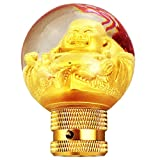 LUNSOM Shifter Knob Golden Universal Car Gear Shift Stick Gear Sphere Round in Shape Automatic Shift Knobs Adapter Statue of the Buddha (Buddha)