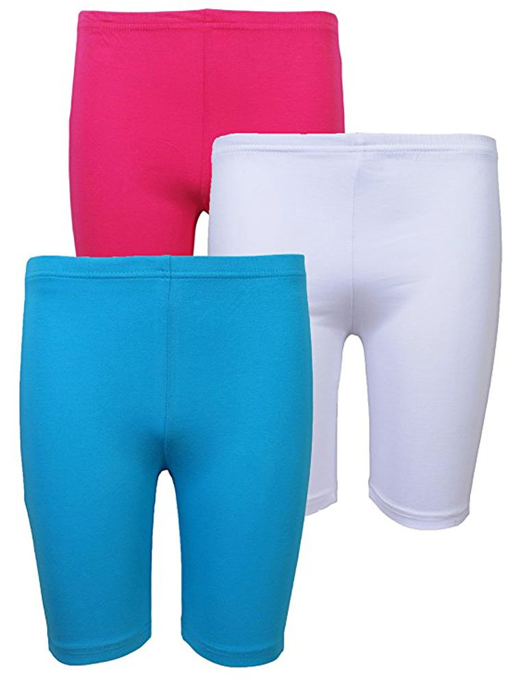 Elegance Girls' 3 Pack Cycling Bike Shorts( Hot pink/White /Sky blue ) 3120