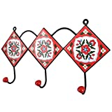 IndianShelf 2 Piece Handmade Artistic Heavy Duty Ceramic Red White Floral Tiles Wall Mounted Rail Hooks Coat Hanger Racks Hats Holder with Screws