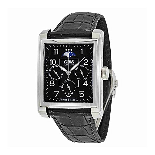 Oris Rectangular Black Dial Automatic Mens Watch 582-7658-4034LS