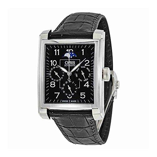 Oris Rectangular Black Dial Automatic Mens Watch 582-7658-4034LS
