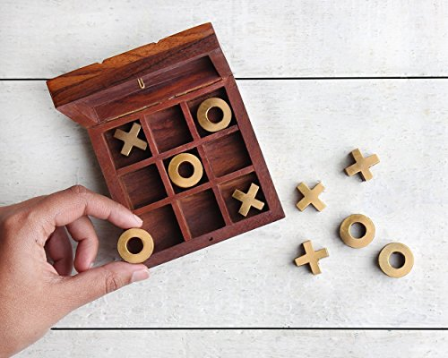 Thanksgiving Gifts Brown Wooden Tic Tac Toe Game Box with Storage for Wooden Naughts and Crosses Holiday Travel Board Game for Kids Adults (Tac Collection Tic Toe)