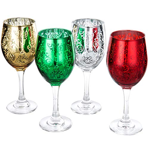 Holiday Glassware - MyGift Etched Glass Colored Christmas Wine Glasses, Set of 4