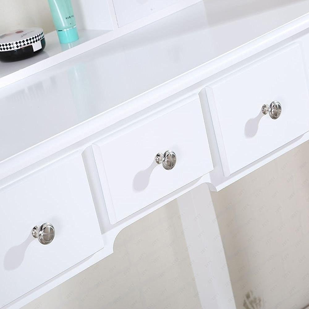 chinkyboo White Wooden Dressing Table with Oval Mirror and Stool Bedroom Shabby Chic 5 Drawers Makeup Desk Sets