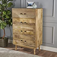 Halston Natural Finished Solid Mango Wood Chest of Drawers