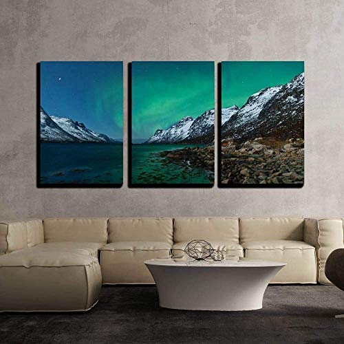 (wall26 - 3 Piece Canvas Wall Art - Northern Lights Aurora Borealis in Norway - Modern Home Decor Stretched and Framed Ready to Hang - 24